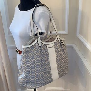 Coach Oversized Signature Stripe Jacquard Tote